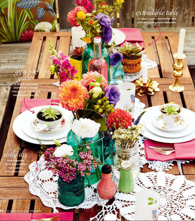 vintage, table setting, tablescape, style at home, summer, brunch, styling