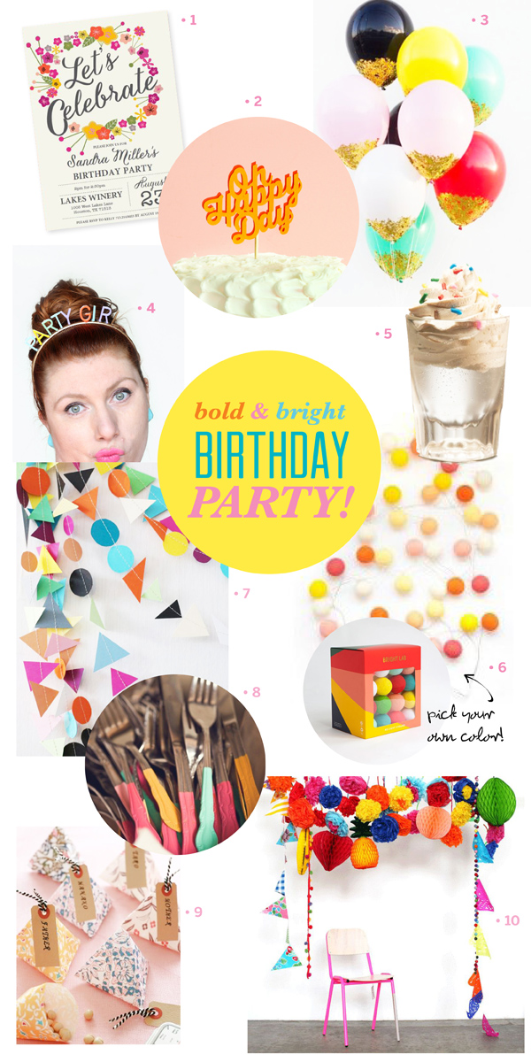 bright colorful bold fun birthday party inspiration