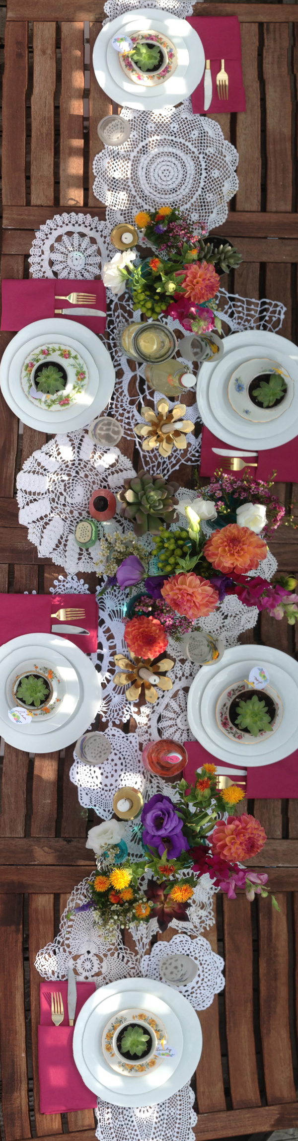 Overhead summer dinner table setting