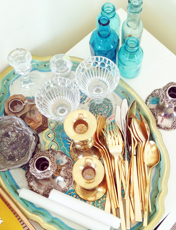 Vintage table top styling props