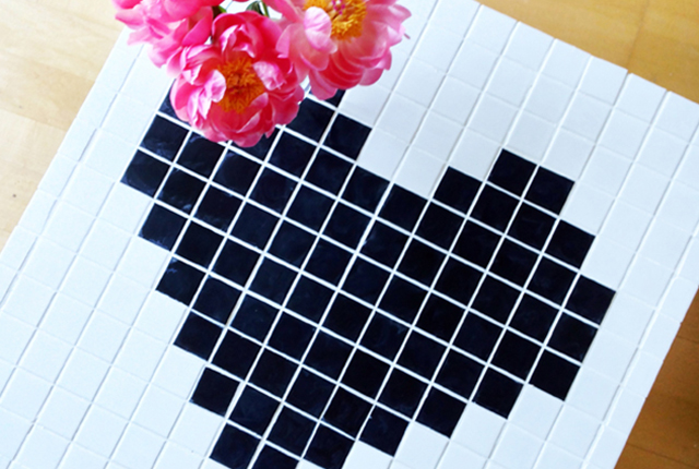 BEFORE & AFTER: Mosaic Heart Tile Table Makeover