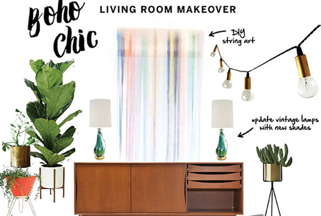 boho chic, home decor, living room