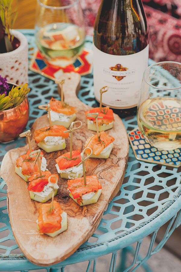 Boho Rooftop Patio Summer Party Smoked Salmon Appetizer