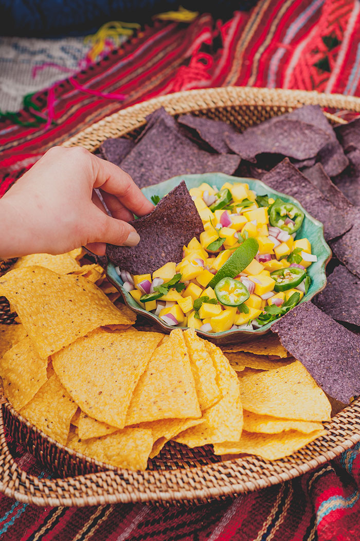 Boho Rooftop Patio Summer Party Fresh Mango Salsa