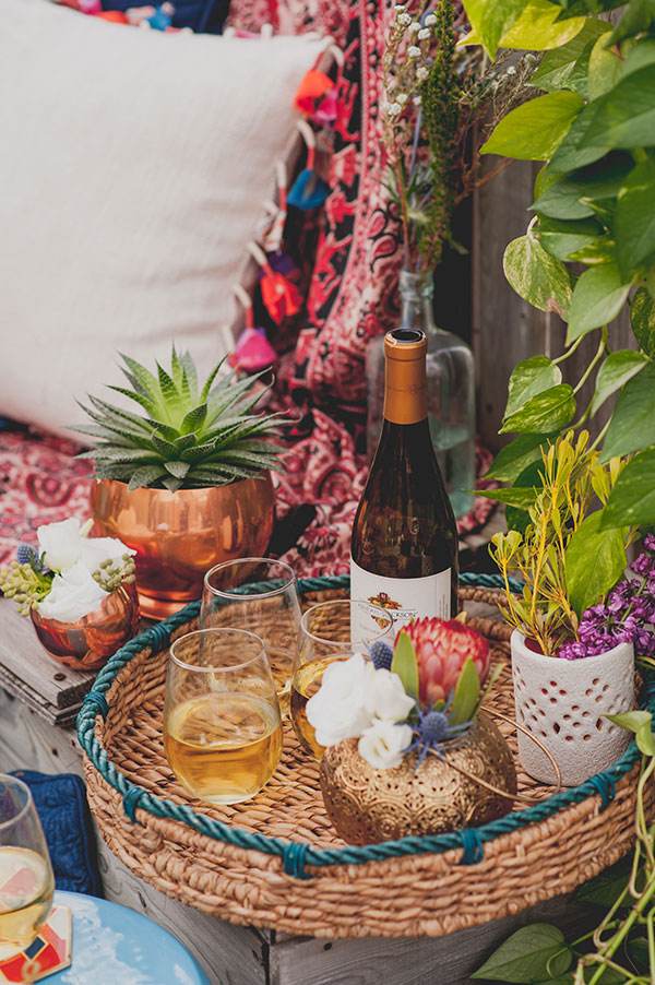 Boho Rooftop Patio Summer Party Florals