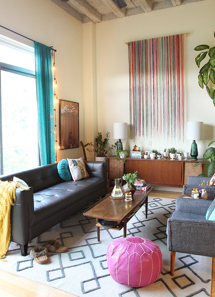 Loft, Living Room, Makeover, Mid Century Modern, Vintage Inspired Decor,  Colorful