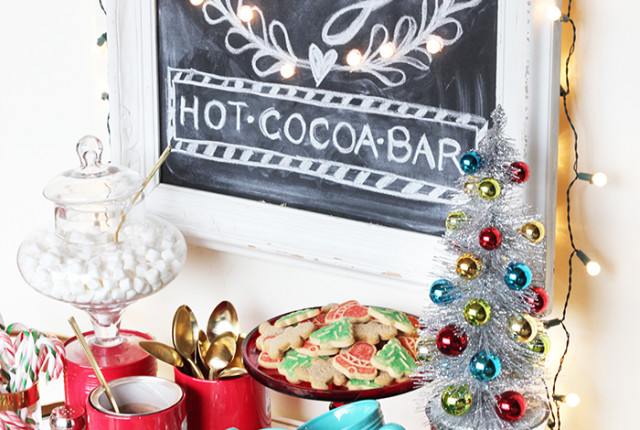 DIY Hot Cocoa Bar Chalkboard Marquee Sign by The Sweet Escape for Merry Mag