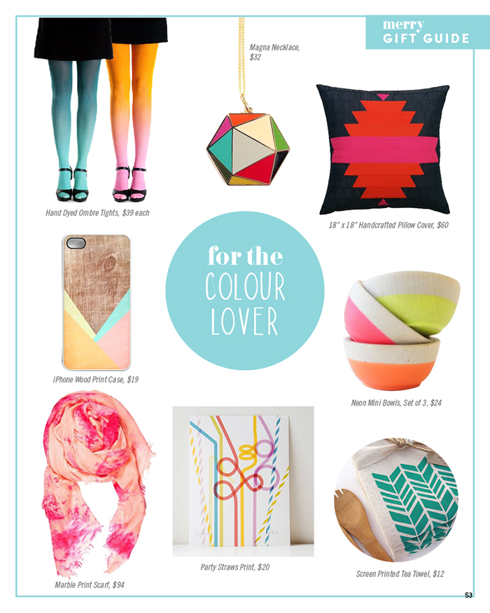 Merry Mag Handmade holiday gift guide - for the color lover