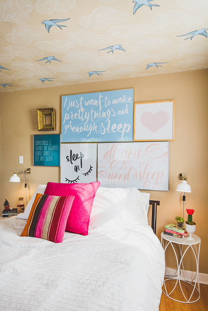 Bedroom Makeover with Type Wall Art