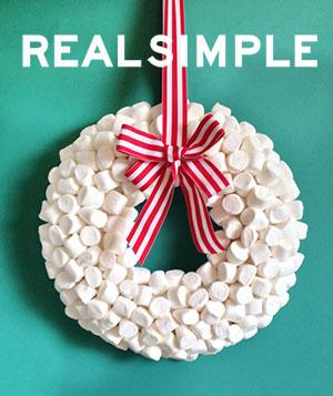 real simple magazine, marshmallow wreath, christmas, diy