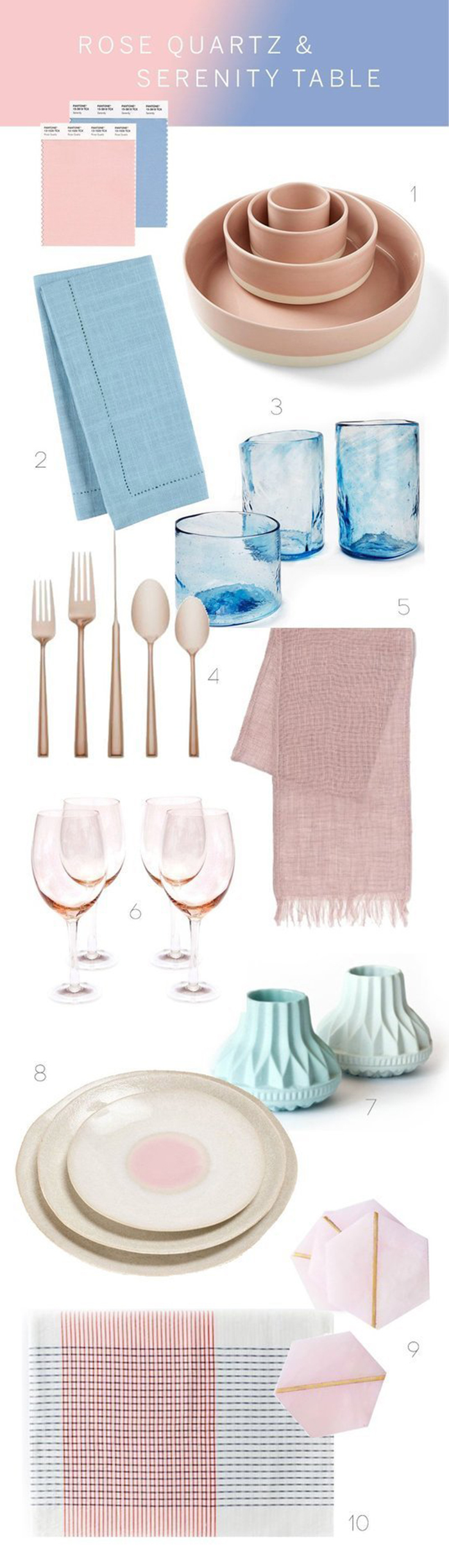 Table setting in pantone rose quartz serentity color of the year