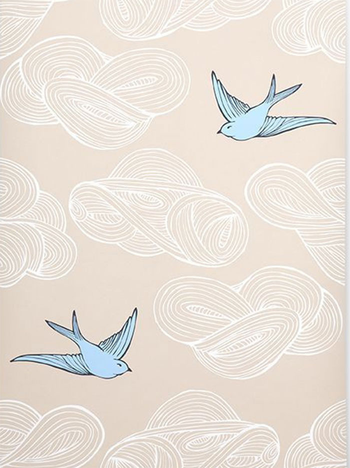 hygge & west daydream bird wallpaper in blue