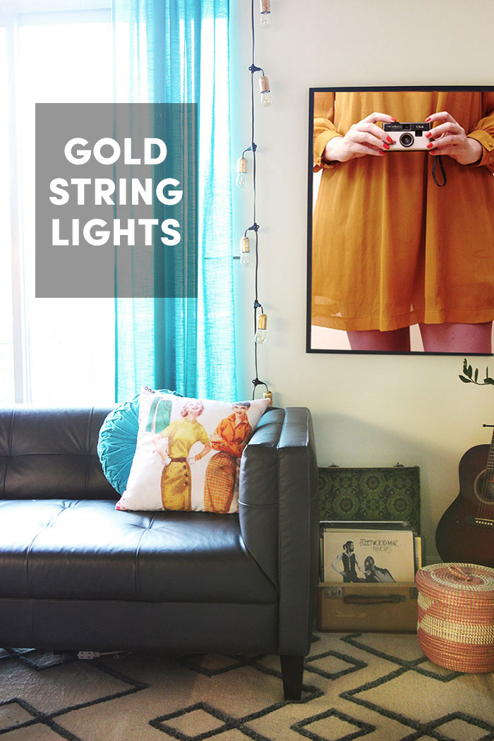 DIY Vintage Looking Gold String lights by The Sweet Escape