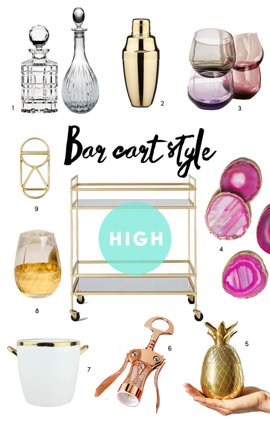 High Low Bar Cart Style by The Sweet Escape