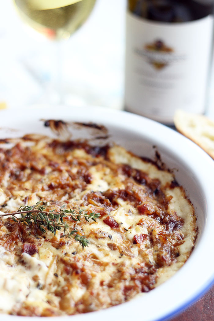 hot caramelized onion and bacon dip recipe