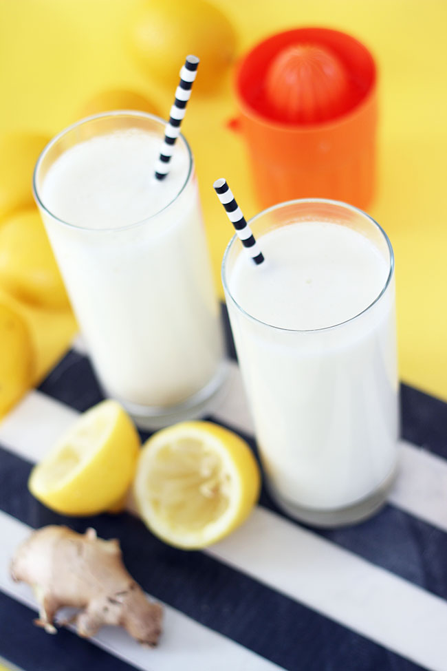 lemon ginger yogurt smoothie recipe by The Sweet Escape