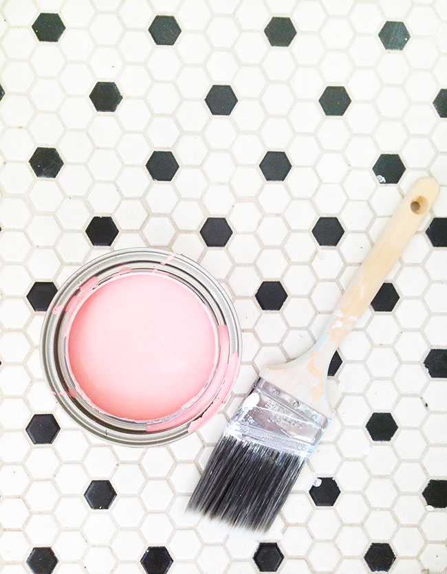 Sweet Escape Studio Bathroom Makeover Hex Tile Floor Pink Paint