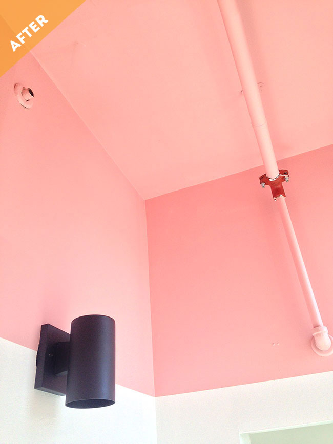Sweet Escape Studio Bathroom Makeover Pink Colour Block Ceiling