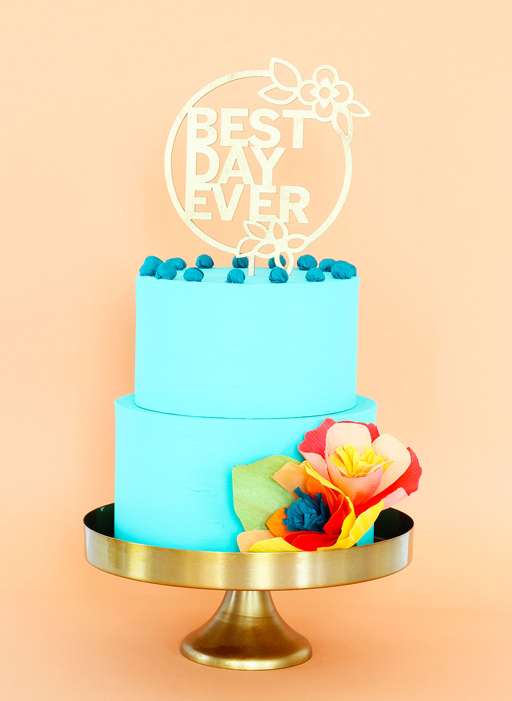 Best Day Ever Gold Laser cut wedding cake topper by The Sweet Escape