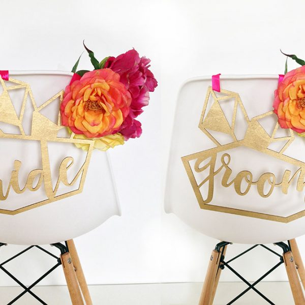 Custom Geometric Design Wedding Chair Hangers by The Sweet Escape