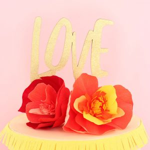 Gold glitter LOVE laser cut cake topper by The Sweet Escape