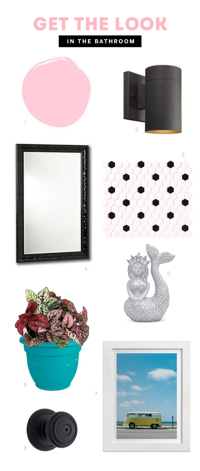 Black and Pink Bathroom makeover Get the Look by The Sweet Escape