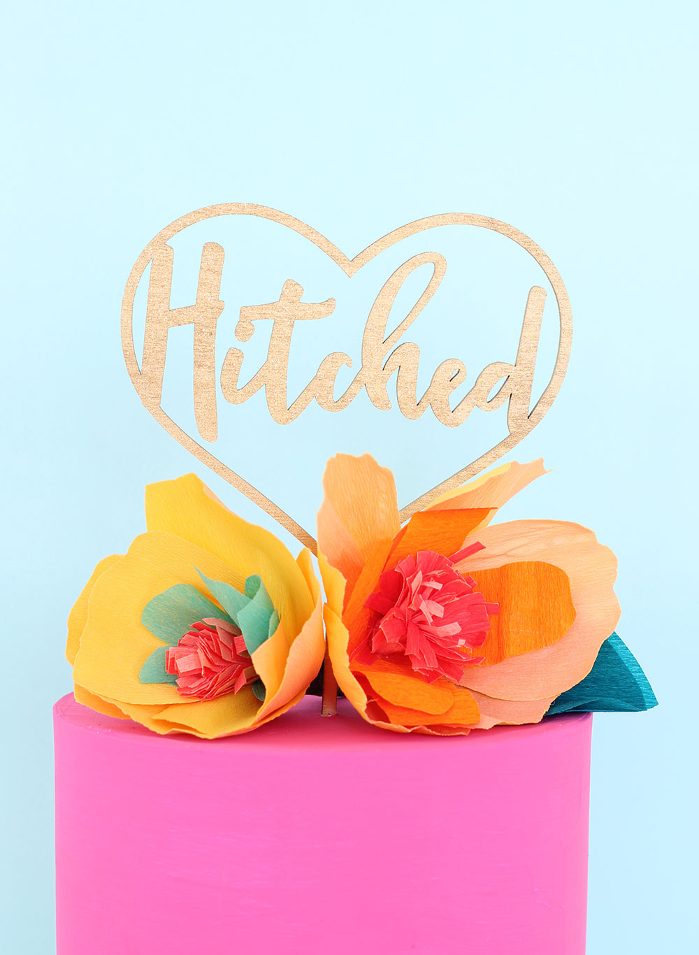 Hitched Gold Laser cut wedding cake topper by The Sweet Escape