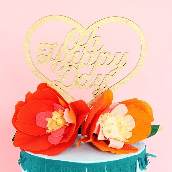 oh Happy Day gold laser cut wedding cake topper by The Sweet Escape