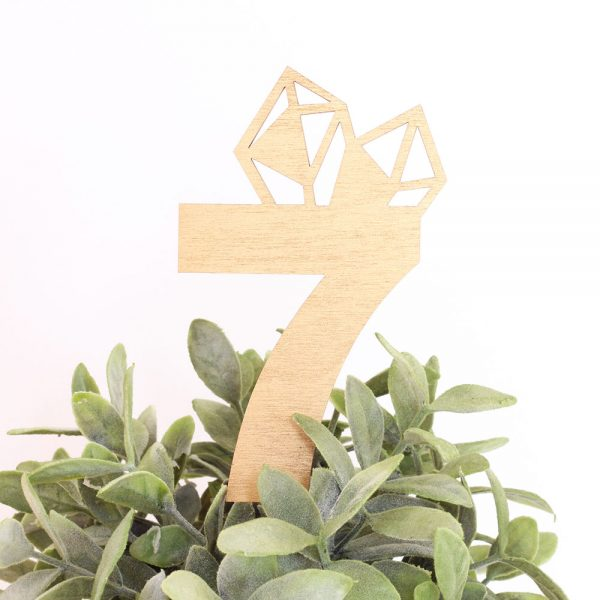 custom geometric design laser cut wedding table numbers by The Sweet Escape