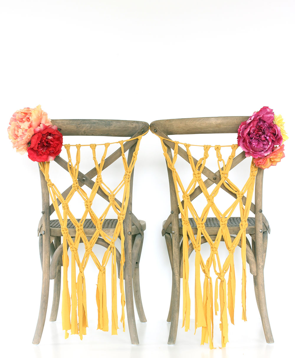 Handmade macrame boho wedding chair hangers by Sweet Escape Occasions