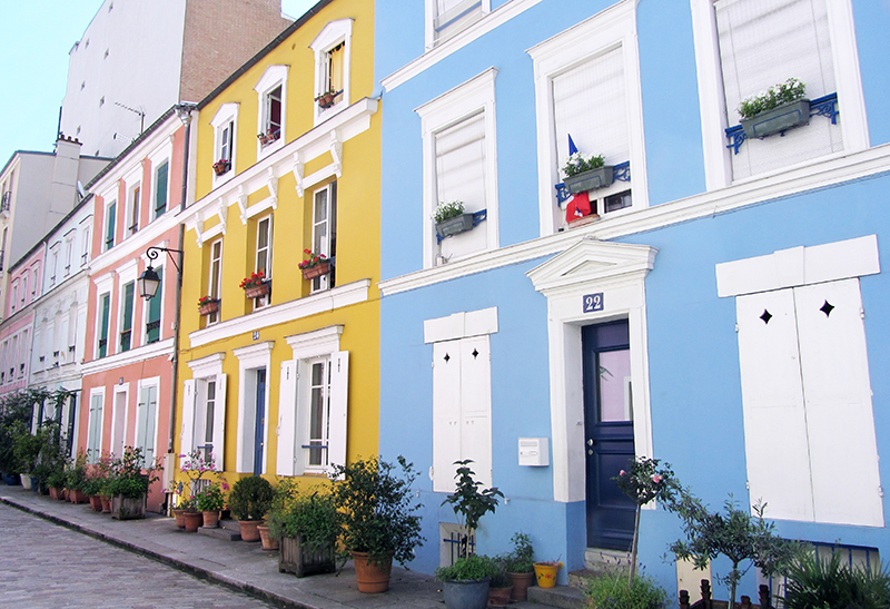 Colourful Houses of Rue Cremieux in Paris