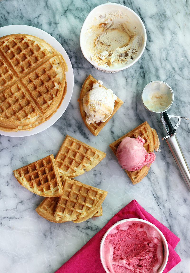 Waffle Ice Cream Sandwich Recipe by The Sweet Escape