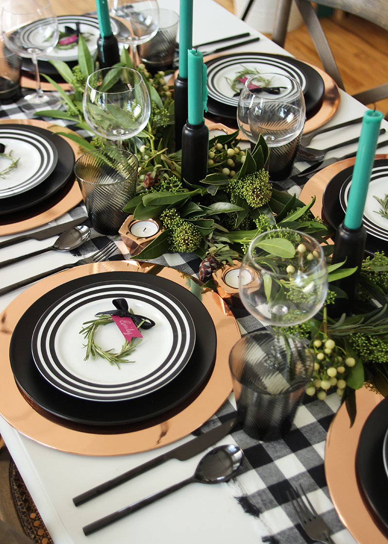 Festive table setting for thanksgiving or holidays by The Sweet Escape