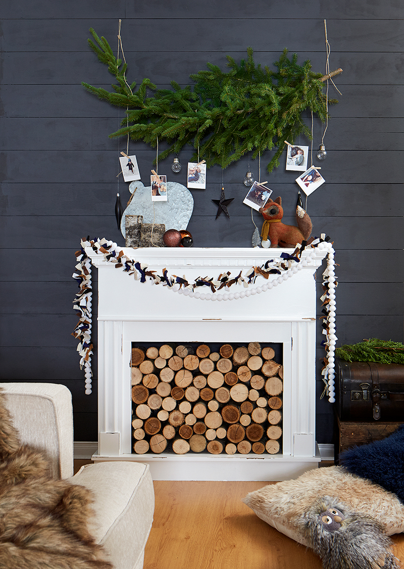 Leons Hello Holiday Look Book Holiday Mantle and DIY garland