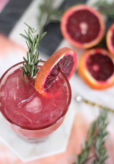 Blood Orange Rosemary Gin Fizz Cocktail by The Sweet Escape