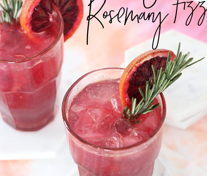 Blood Orange Rosemary Gin Fizz Valentine Cocktail