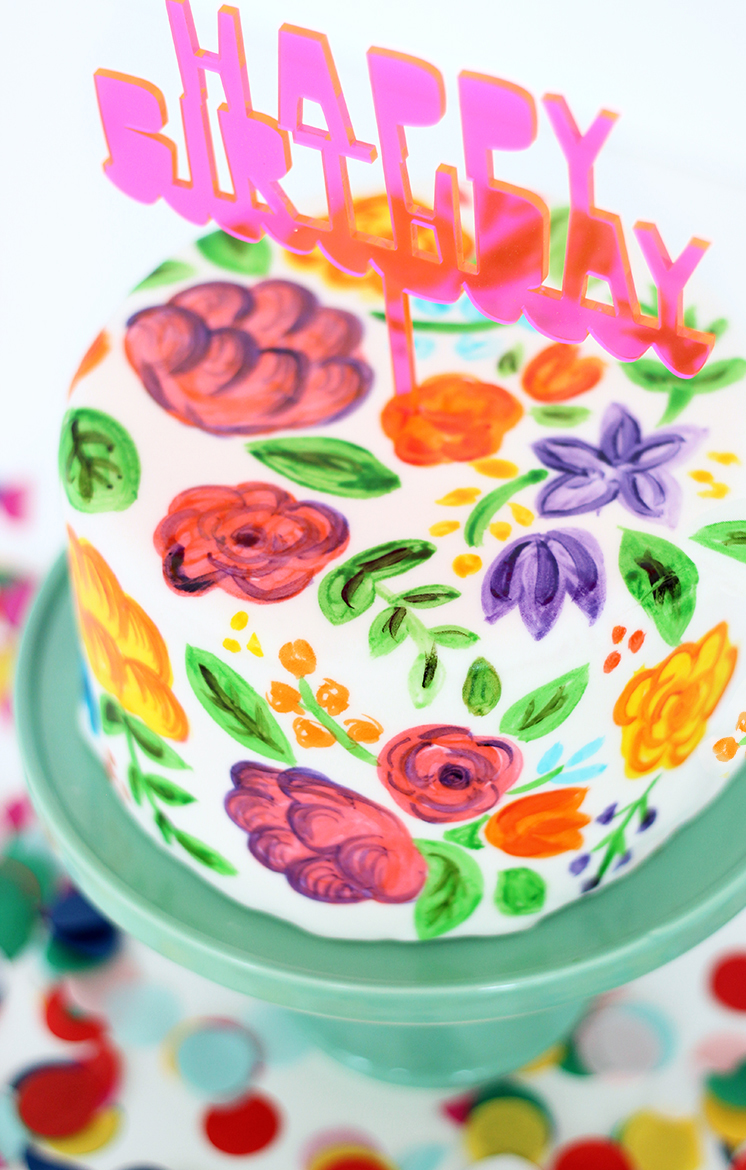 Hand Painted Fondant Round Birthday Cake by The Sweet Escape