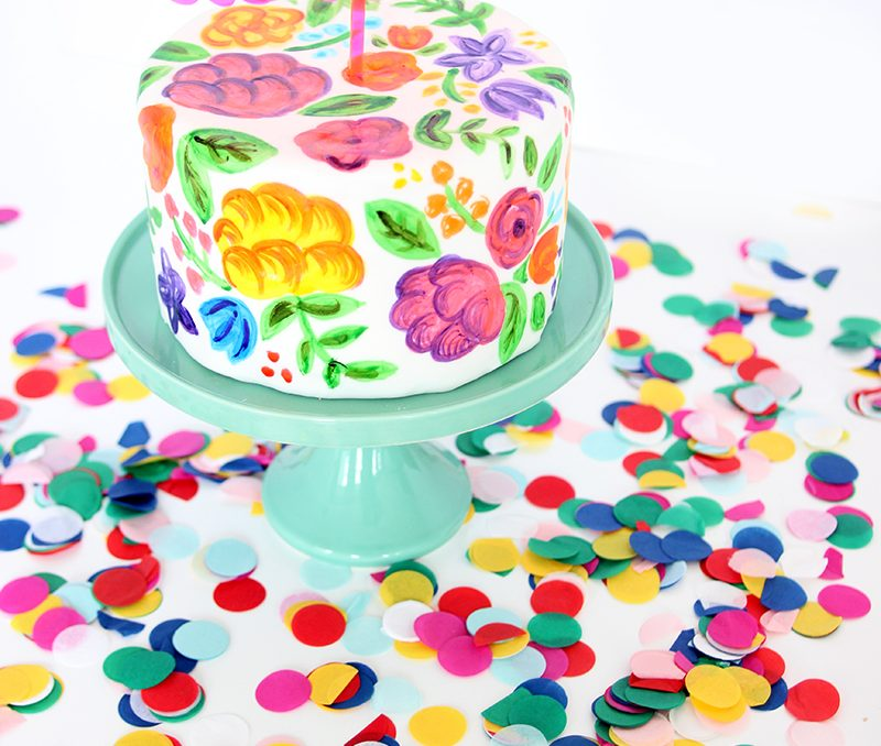 The Sweet Escape Turns 4! DIY Hand Painted Birthday Cake