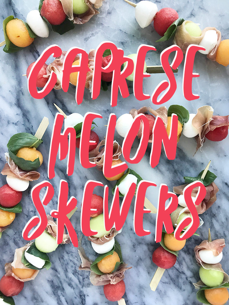 Melon Caprese Skewer no cook summer recipe by The Sweet Escape
