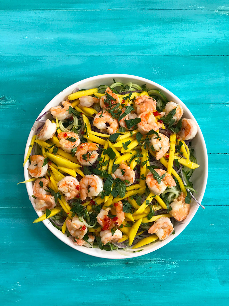 cucumber mango shrimp salad recipe by The Sweet Escape