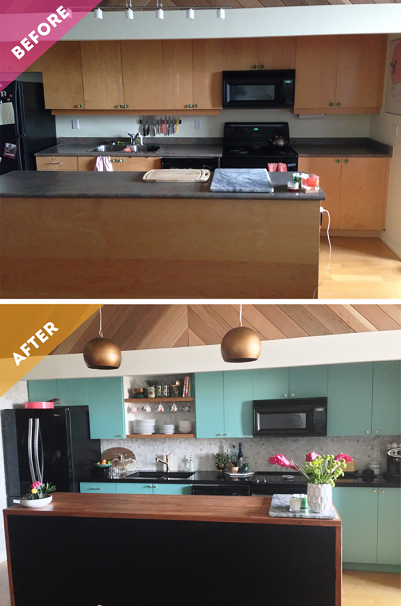 colorful loft kitchen makeover before and after