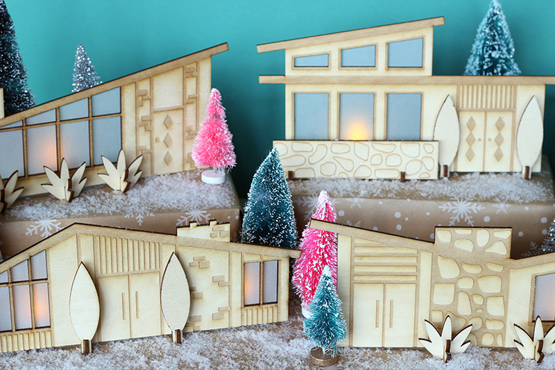 mid century modern holiday village laser cut